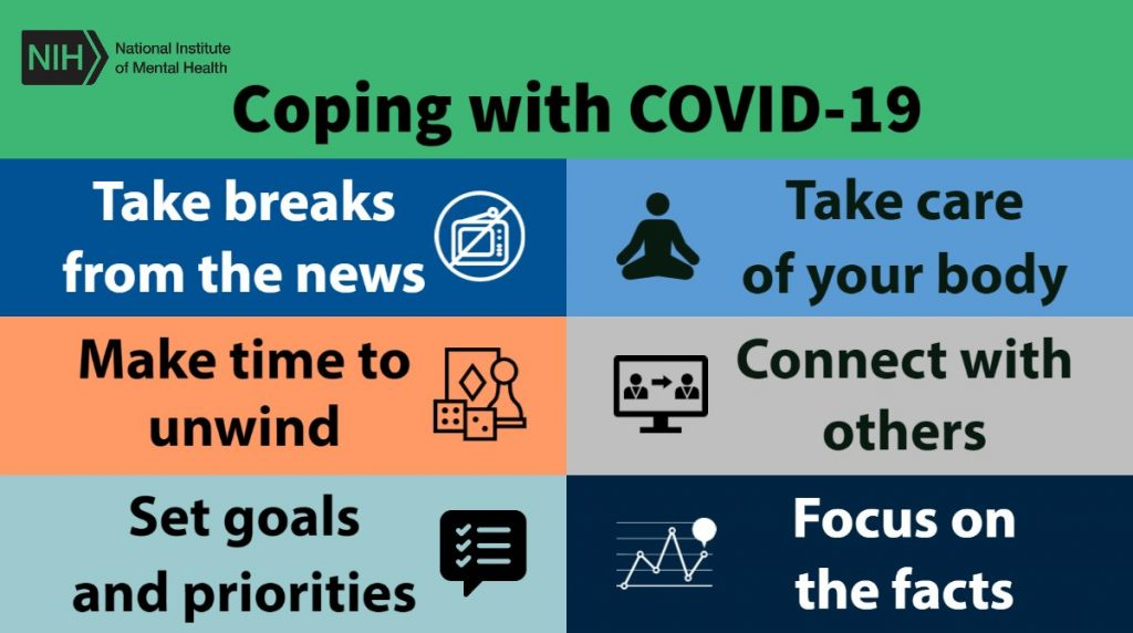 Coping with COVID-19: Take breaks from the news, make time to unwind, set goals and priorities, take care of your body, connect with others, focus on the facts